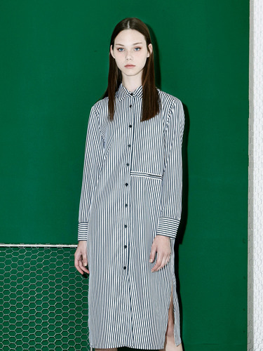 [Season Off 50% 세일]Stripe Long Shirts Dress (BK)