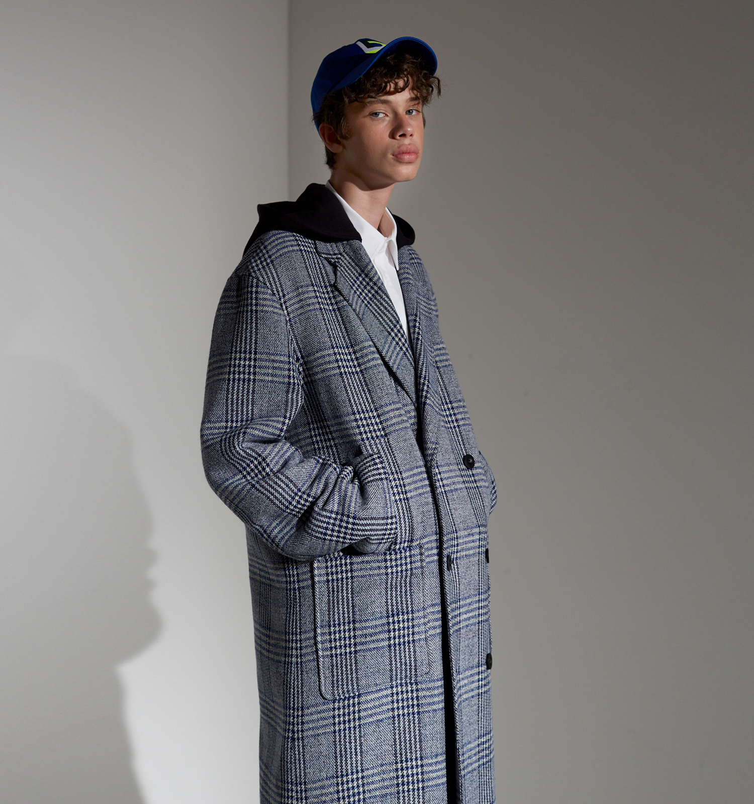 [18FW][시즌오프 50% 세일] Detachable Hood Check Coat (BL)