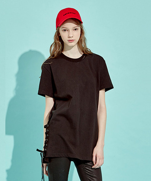 Side Lace-Up T-Shirts (BK)