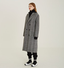 [18FW][시즌오프 50% 세일] Detachable Hood Check Coat (BK)