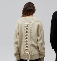 [2/27일 예약배송][19S/S] Pretzel Back Lace-up Knit (IV)