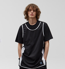 [19S/S] Mesh Layered T-Shirts (BK)