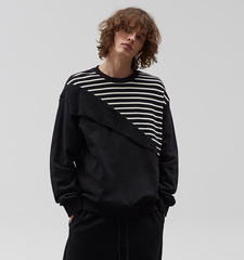 [19S/S] Diagonal Stripe Sweat Shirts (BK)