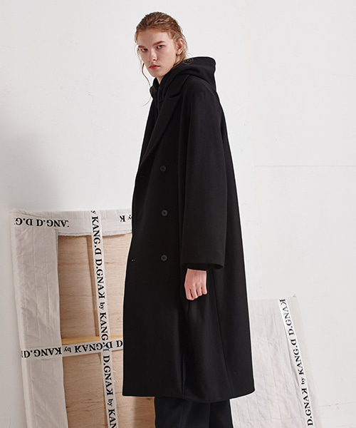 [19FW][40% 세일] Diagonal Pleat Long Coat (BK)