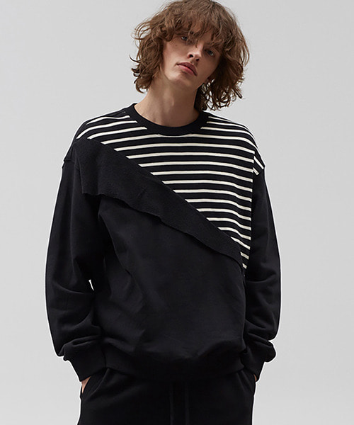 [19S/S][60% 세일] Diagonal Stripe Sweat Shirts (BK)